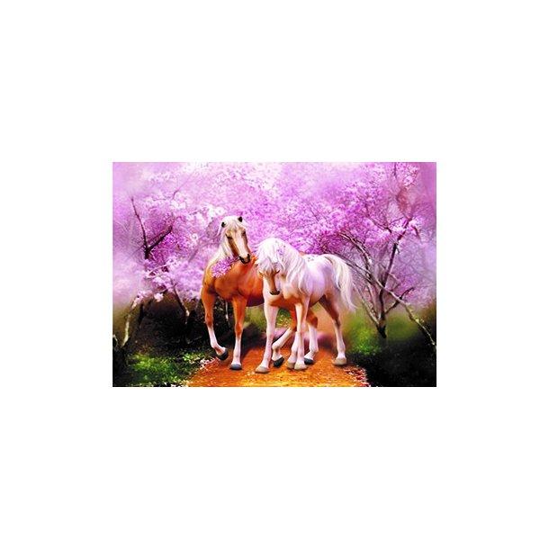 3D Postkort med to Heste