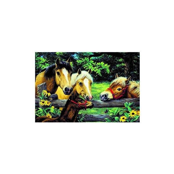 3D Postkort med fire Heste