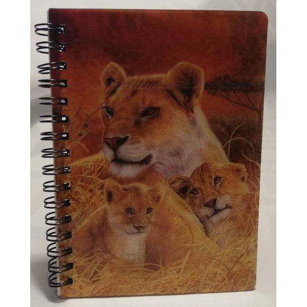 3D notesbog løvinde med hendes unger
