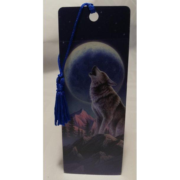 3D bogmærke ulv der hyler