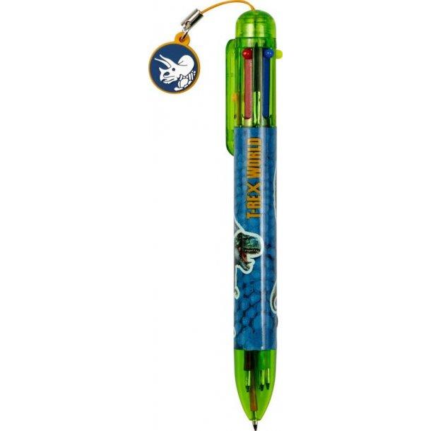 6 farvet pen med T-Rex