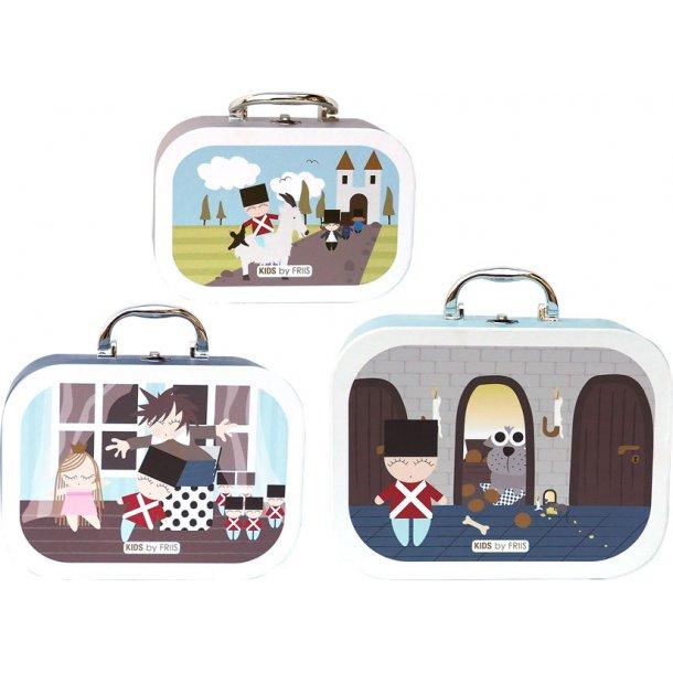 3 stk kuffert med motiv af HC. Andersens eventyr