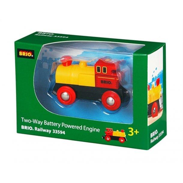 Batteridrevet tovejs lokomotiv, rødt/gult