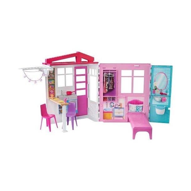 Barbie – Hus med møbler – Transportablet barbie hus