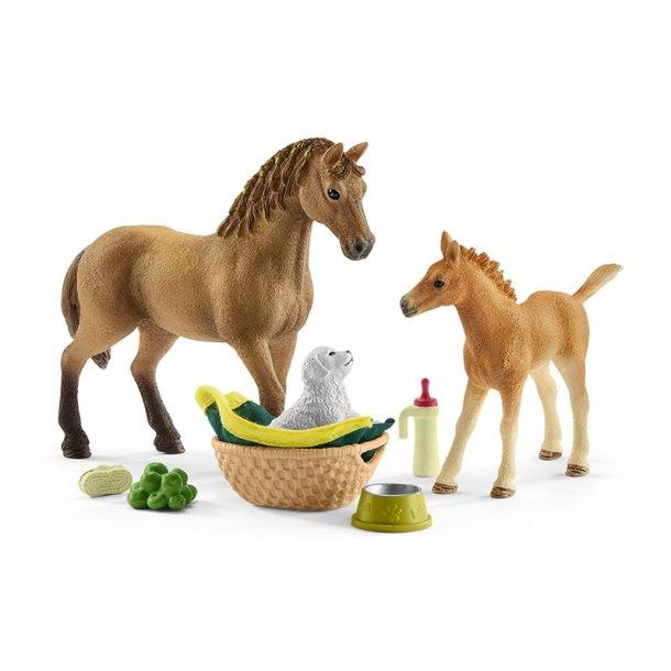Rørig Schleich Heste med hundehvalp - Heste - Klovnen Tulle's legetøj CD-73